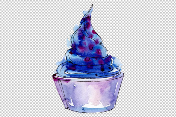 Ice cream berry Watercolor png Flower