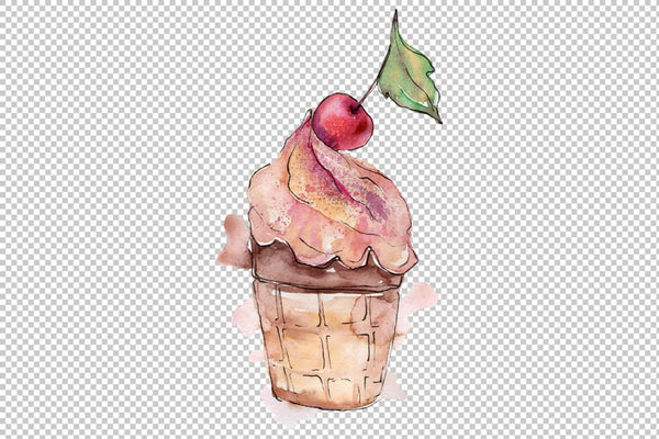 Ice cream the joy of childhood Watercolor png Flower