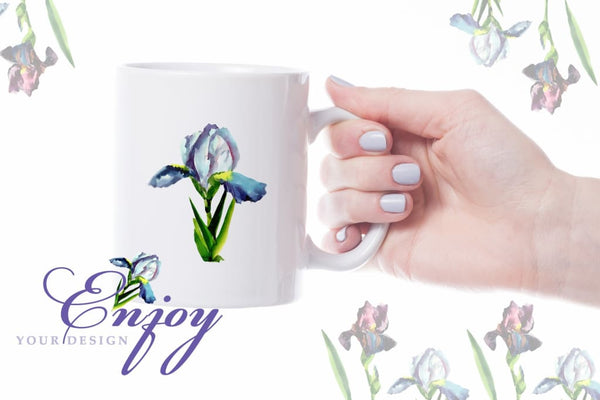 Irises Blue Watercolor png Digital