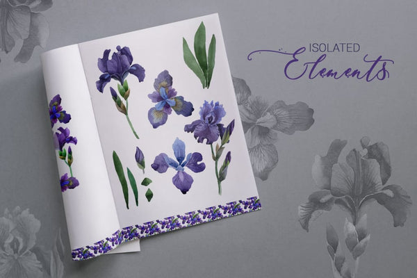 Irises Gentle Watercolor png Digital