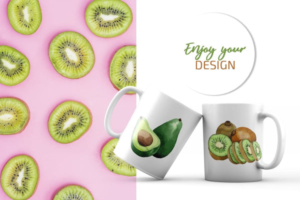 Kiwi Green fresh watercolor png Digital