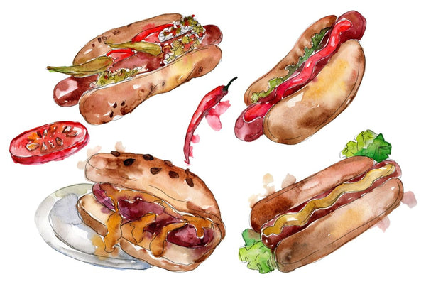 Korean hot dog watercolor png Flower