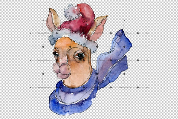 Lama Alpaca Watercolor Png Flower