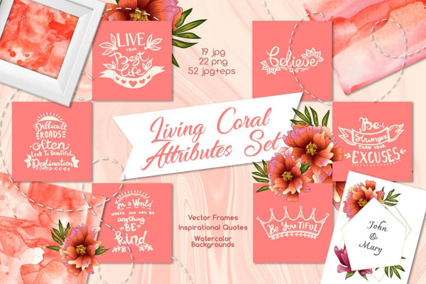 Living coral attributes set Watercolor png Digital