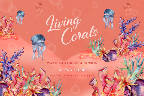Living Corals Watercolor png Digital