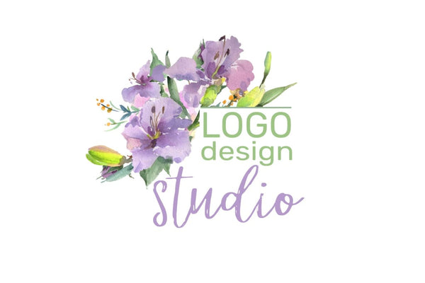 logo pink and purple hibiscus Watercolor png Flower