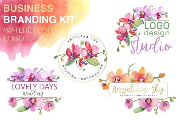 LOGO with beautiful orchids Watercolor png Flower