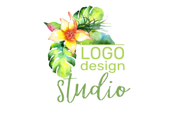 LOGO with bright tropical flowers Watercolor png Flower