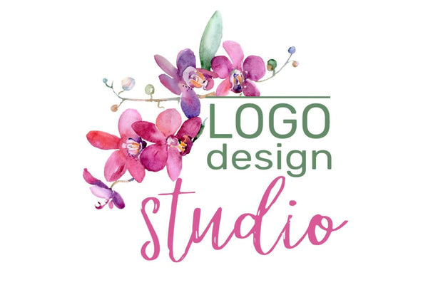 LOGO with pink orchids Watercolor png Flower