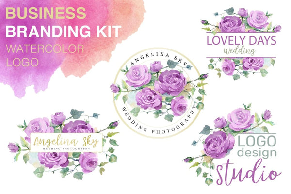 LOGO with purple roses Watercolor png Flower