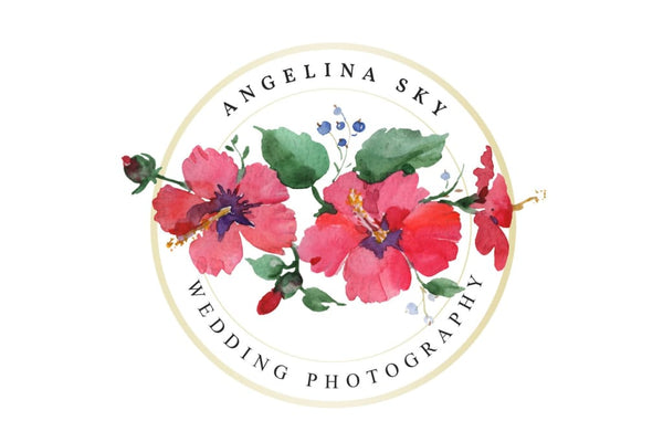 LOGO with red hibiscus and bluebells Watercolor png Flower