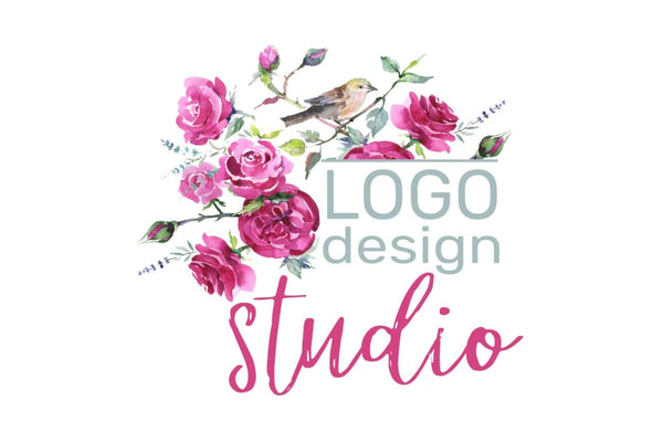 LOGO with roses and bird Watercolor png Flower