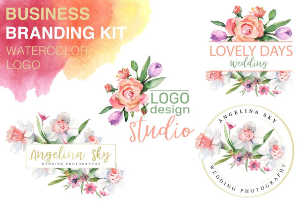 LOGO gyda rhosod a narcissus Watercolour png Flower