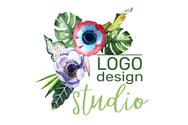 LOGO with tropical flowers Watercolor png Flower