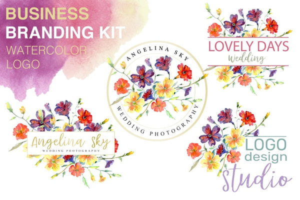 LOGO with wildflowers Watercolor png Flower