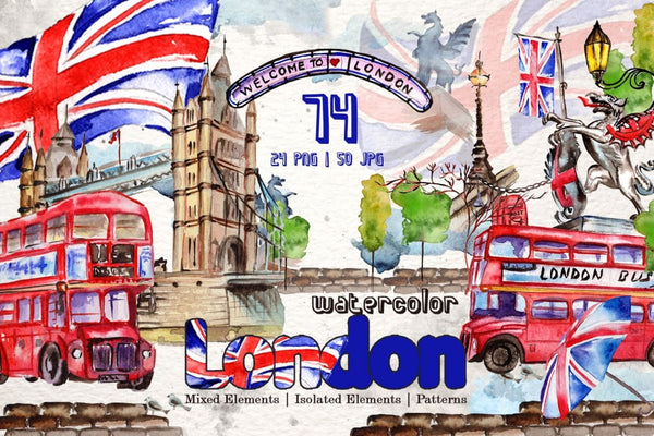 London Watercolor png Digital