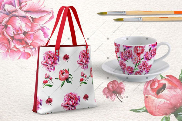 Lovely Pink Peony Png Watercolor Set Digital
