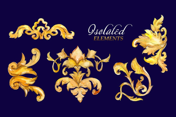 Luxury gold monograms. Fashion prints Watercolor png Digital