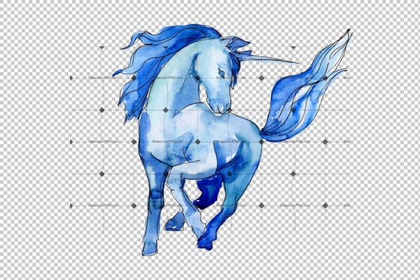 Magic Blue And Pink Unicorns Png Watercolor Set Digital