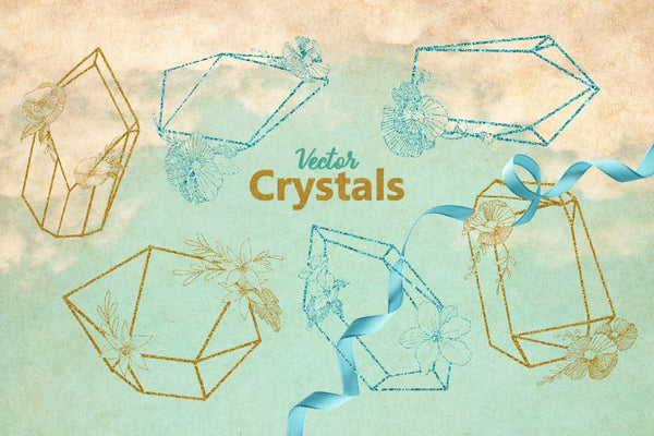 Magic Crystals Vector Design Set Digital