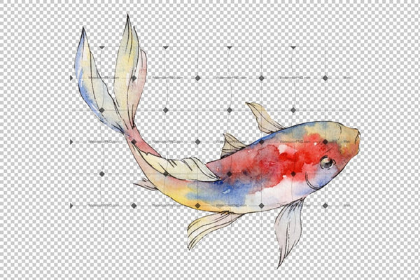 Magic Gold Fish Watercolor Png Flower