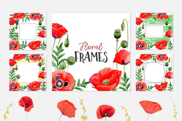 Magic Poppies red Watercolor png Digital