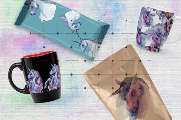 Magical Purple Unicorn Png Watercolor Set Digital