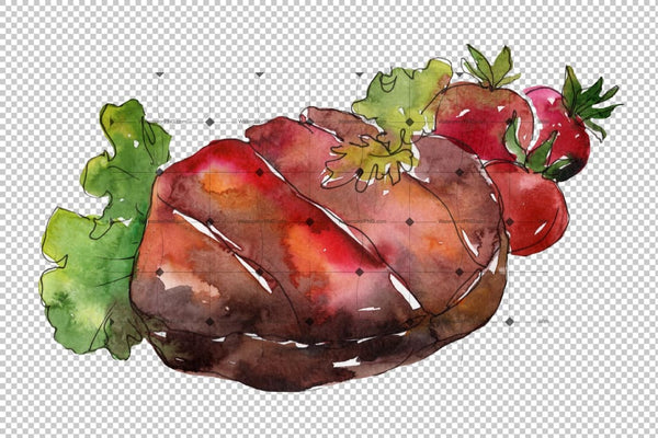 Meat Steaks Png Watercolor Set Digital