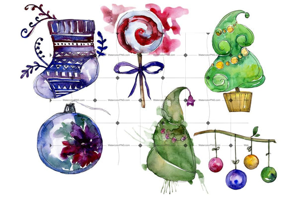 New Year Decoration Png Watercolor Set Digital