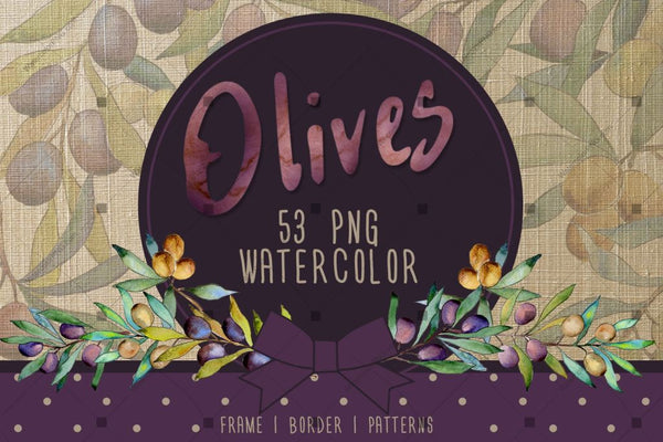 Olive Tree Png Watercolor Set Digital