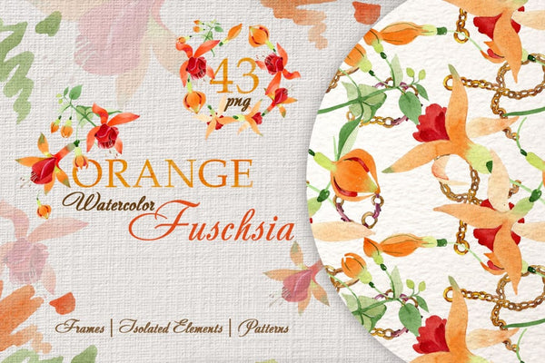 Orange Fuschsia Watercolor png Digital