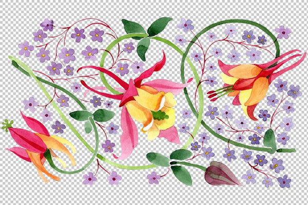 Ornament for flower vase watercolor png Flower
