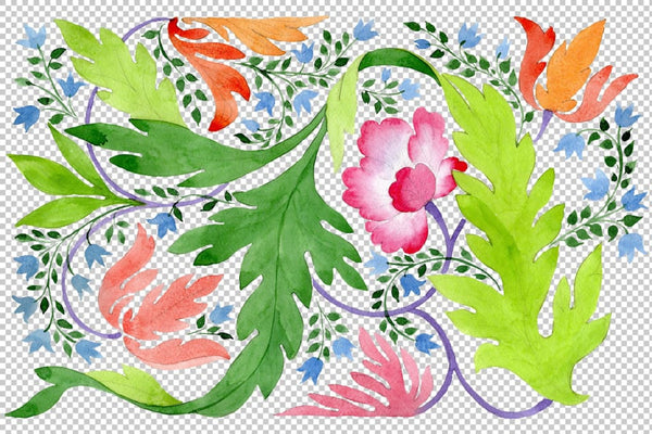 Ornament of wildflowers watercolor png Flower