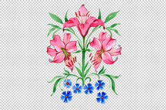 Ornament red lilies watercolor png Flower