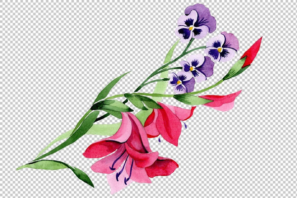 Ornament traditional floral watercolor png Flower