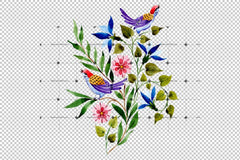 Ornament With Birds Png Watercolor Set Digital