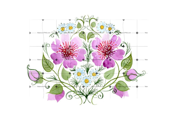 Ornament With Daisies Png Watercolor Set Flower