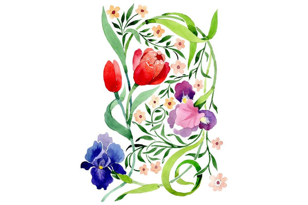 Ornament with irises and tulips watercolor png Flower