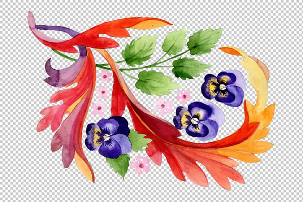 Ornament with pansies Watercolor png Flower