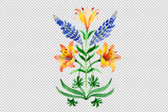 Ornament yellow lilies watercolor png Flower