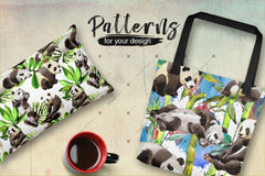 Panda Wild Animal Png Watercolor Set Թվային