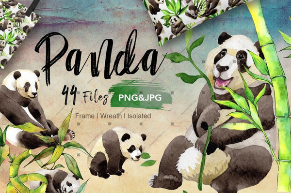 Panda Wild Animal Png Akvarel Set Digital