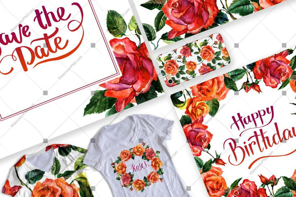 Paradise Roses Png Watercolor Flower Set Digital