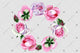 Pink bright rose wreath frame flowers watercolor PNG