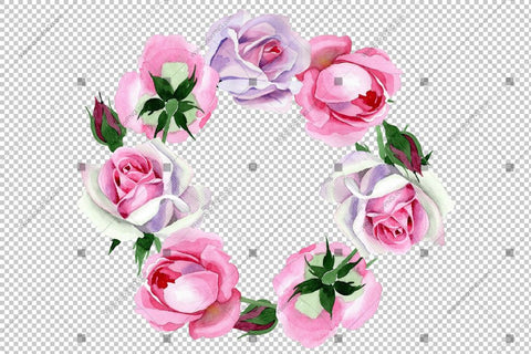 Pink Bright Rose Wreath Frame Flowers Watercolor Png Design