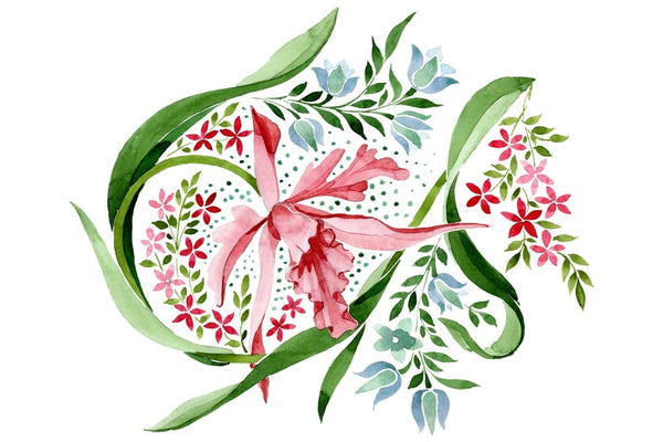Pink floral ornament watercolor png Flower