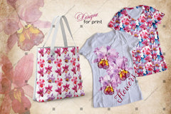 Pinc-uisge Pinc Watercolour Flower Set Digiteach