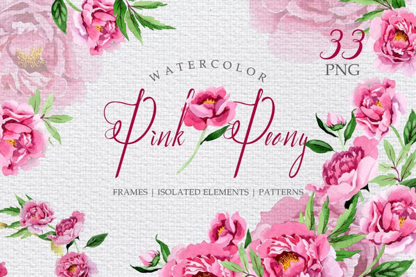Pink Peonies Flavor of Love Watercolor png Digital