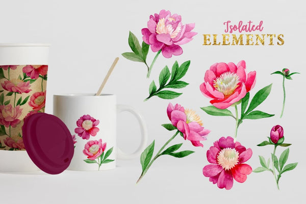 Pink Peony Tenderness Watercolor png Digital