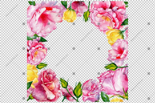 Pink Rose Flowers Frame Watercolor Png Design